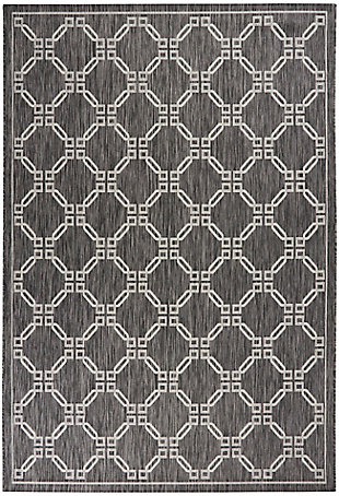Nourison Country Side 6' X 9' Charcoal Trellis Indoor/outdoor Rug, Charcoal, large