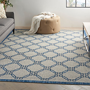 Nourison Country Side 6' x 9' Ivory Blue Trellis Indoor/Outdoor Rug, Ivory Blue, rollover