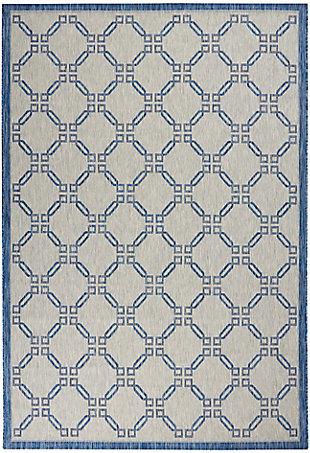 Nourison Country Side 6' x 9' Ivory Blue Trellis Indoor/Outdoor Rug, Ivory Blue, large