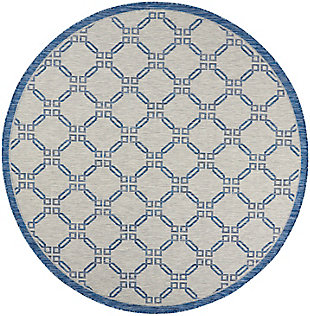 """Nourison Country Side 7'10"""" Round Ivory Blue Trellis Indoor/outdoor Rug, Ivory Blue, large"""
