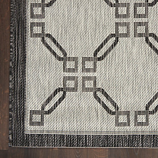 """Nourison Country Side 2'2"""" X 7'6"""" Ivory/charcoal Trellis Indoor/outdoor Rug, Ivory/Charcoal, large"""