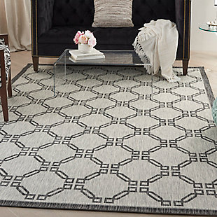 Nourison Country Side 6' x 9' Ivory/Charcoal Trellis Indoor/Outdoor Rug, Ivory/Charcoal, rollover