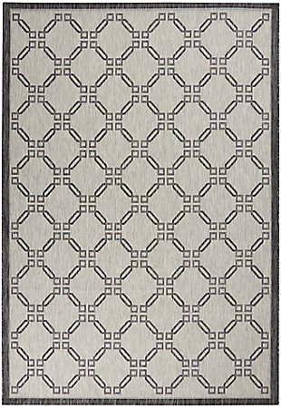Nourison Country Side 6' x 9' Ivory/Charcoal Trellis Indoor/Outdoor Rug, Ivory/Charcoal, large