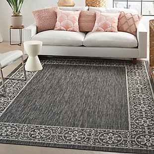 Nourison Country Side 6' x 9' Charcoal Bordered Indoor/Outdoor Rug, Charcoal, rollover