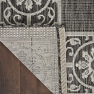Nourison Country Side 6' x 9' Charcoal Bordered Indoor/Outdoor Rug, Charcoal, large