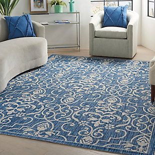 Nourison Country Side 6' x 9' Denim Bordered Indoor/Outdoor Rug, Denim, large