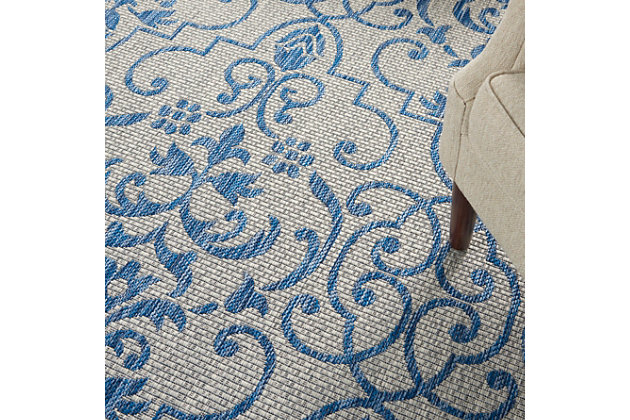 """Nourison Country Side 7'10"""" Round Ivory Blue Bordered Indoor/Outdoor Rug, Ivory Blue, large"""