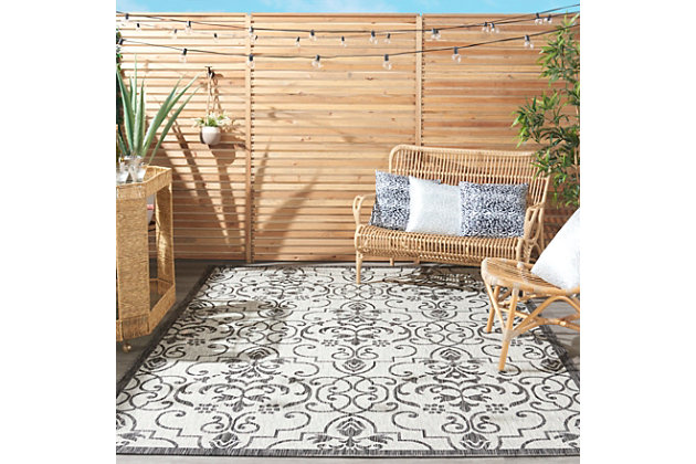 Nourison Country Side 6' x 9' Ivory/Charcoal Bordered Indoor/Outdoor Rug, Ivory/Charcoal, large