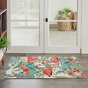 """Nourison Sun N' Shade 2'3"""" x 3'9"""" Multicolor Nature-inspired Indoor/Outdoor Rug, Multi, rollover"""