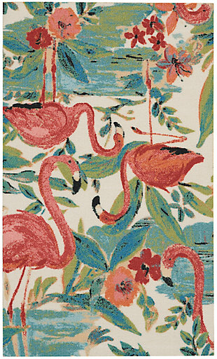 """Nourison Sun N' Shade 2'3"""" x 3'9"""" Multicolor Nature-inspired Indoor/Outdoor Rug, Multi, large"""
