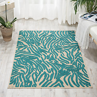 "Nourison Aloha 2'8"" X 4' Blue Animal Print Indoor/outdoor Rug, Blue, rollover"
