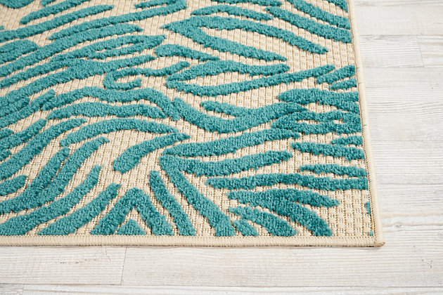 "Nourison Aloha 2'8"" X 4' Blue Animal Print Indoor/outdoor Rug, Blue, large"