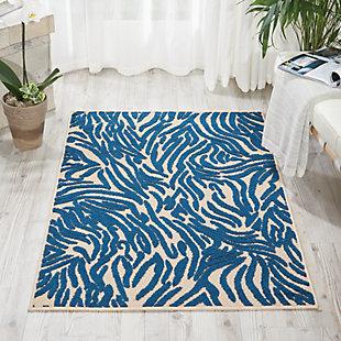 "Nourison Aloha 2'8"" X 4' Navy Animal Print Indoor/outdoor Rug, Navy, large"