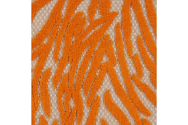 "Nourison Aloha 2'8"" X 4' Orange Animal Print Indoor/outdoor Rug, Orange, large"