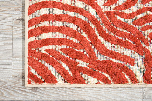 """Nourison Aloha 2'8"""" X 4' Red Animal Print Indoor/outdoor Rug, Red, large"""