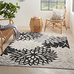 Nourison Aloha 6' x 9' Black White Floral Indoor/Outdoor Rug, Black/White, rollover