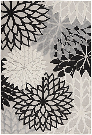 Nourison Aloha 6' x 9' Black White Floral Indoor/Outdoor Rug, Black/White, large