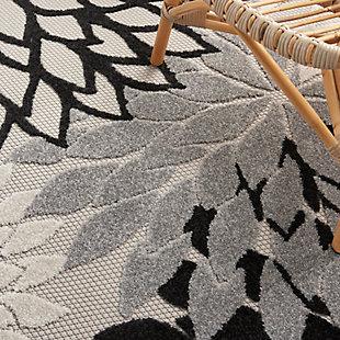 Nourison Aloha 6' X 9' Black White Floral Indoor/outdoor Rug, Black/White, large