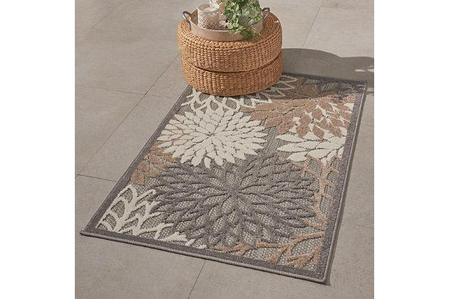 Nourison Aloha 3' X 5' Natural Floral Indoor/outdoor Rug, Natural, large