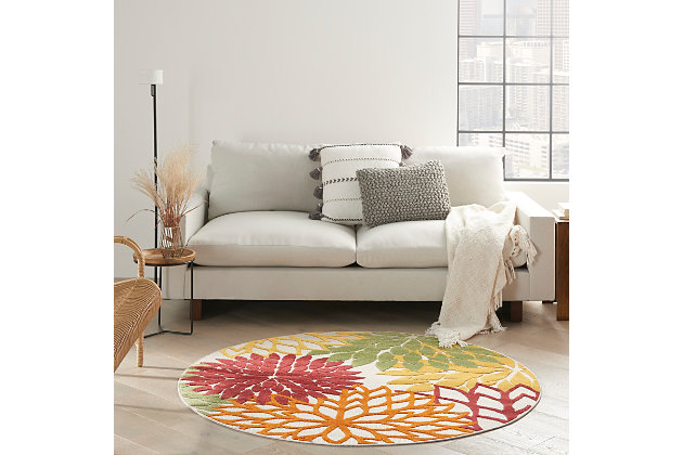 Nourison Aloha 4' x round Red Multi Colored Floral Indoor/Outdoor Rug, Red Multi, large