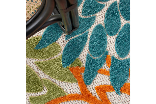 """Nourison Aloha 7'10"""" X Round Turquoise Multicolor Floral Indoor/outdoor Rug, Turquoise Multi, large"""