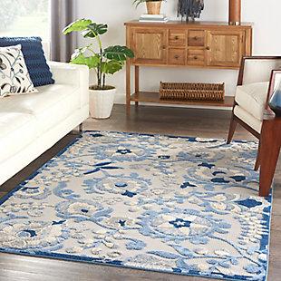 "Nourison Aloha 5'3"" x 7'5"" Blue/Grey Floral Indoor/Outdoor Rug, Blue/Gray, rollover"
