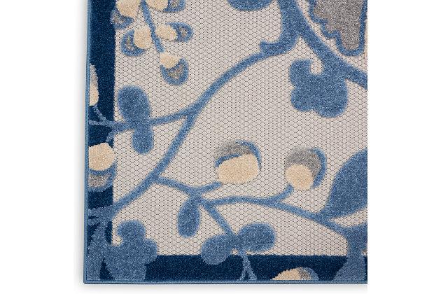 "Nourison Aloha 5'3"" X 7'5"" Blue/Grey Floral Indoor/Outdoor Rug, Blue/Gray, large"