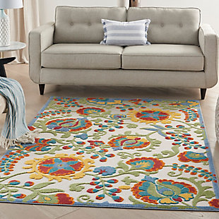 """Nourison Aloha 5'3"""" x 7'5"""" Ivory/Multi Floral Indoor/Outdoor Rug, Ivory/Multi, rollover"""