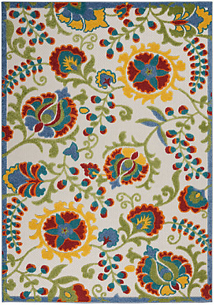 "Nourison Aloha 5'3"" x 7'5"" Ivory/Multi Floral Indoor/Outdoor Rug, Ivory/Multi, large"