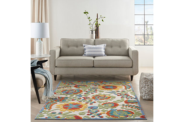 """Nourison Aloha 5'3"""" X 7'5"""" Ivory/multi Floral Indoor/outdoor Rug, Ivory/Multi, large"""