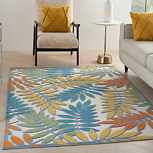 "Nourison Aloha 5'3"" x 7'5"" Ivory/Multi Botanical Indoor/Outdoor Rug, Ivory/Multi, rollover"