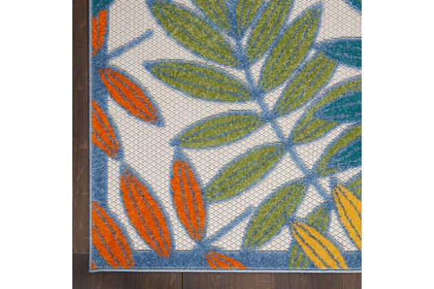 """Nourison Aloha 5'3"""" X 7'5"""" Ivory/multi Botanical Indoor/outdoor Rug, Ivory/Multi, large"""