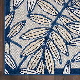 """Nourison Aloha 3'6"""" X 5'6"""" Ivory/navy Botanical Indoor/outdoor Rug, Ivory/Navy, large"""
