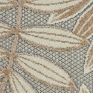 "Nourison Aloha 2'3"" X 12' Natural Botanical Indoor/outdoor Rug, Natural, large"