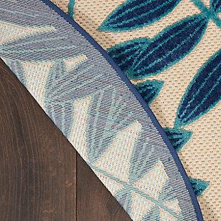 "Nourison Aloha 5'3"" X Round Navy Botanical Indoor/outdoor Rug, Navy, large"