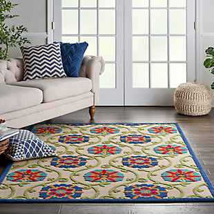 Nourison Aloha 6' X 9' Blue/multicolor Floral Indoor/outdoor Rug, Blue/Multi, rollover