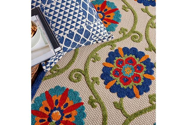 Nourison Aloha 6' X 9' Blue/multicolor Floral Indoor/outdoor Rug, Blue/Multi, large