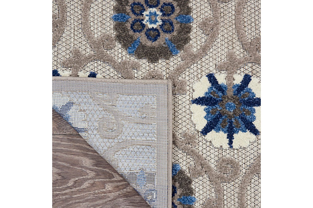 "Nourison Aloha 2'3"" X 12' Grey/blue Floral Indoor/outdoor Rug, Gray/Blue, large"
