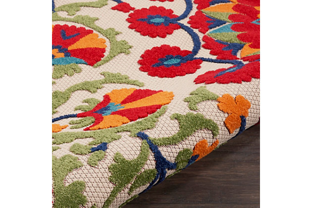 Nourison Aloha 4' X Round Red/multicolor Floral Indoor/outdoor Rug, Red/Multi, large