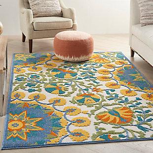 "Nourison Aloha 5'3"" x 7'5"" Multicolor Floral Indoor/Outdoor Rug, Multi, rollover"