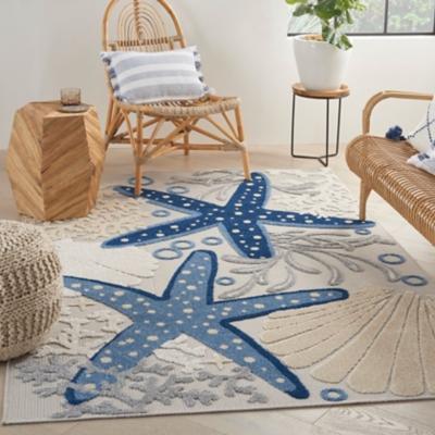 "Nourison Aloha 5'3"" X 7'5"" Blue/Grey Nautical Indoor/Outdoor Rug, Blue/Gray, large"