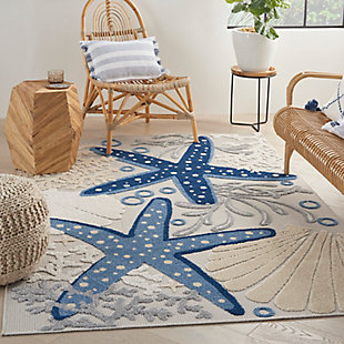 "Nourison Aloha 5'3"" X 7'5"" Blue/Grey Nautical Indoor/Outdoor Rug, Blue/Gray, rollover"