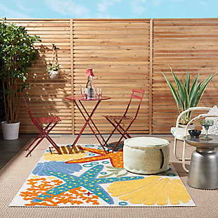 "Nourison Aloha 3'6"" X 5'6"" Multicolor Nautical Indoor/outdoor Rug, Multi, large"