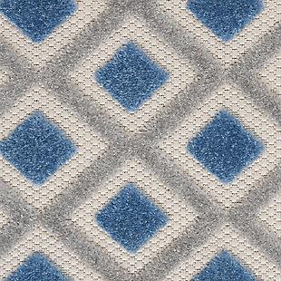 "Nourison Aloha 3'6"" x 5'6"" Blue/Grey Geometric Indoor/Outdoor Rug, Blue/Gray, large"