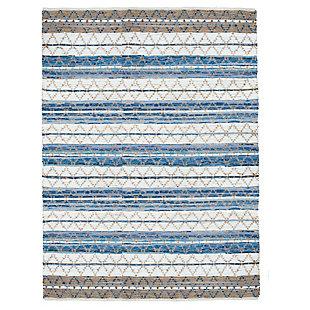 AB HOME Large Stripe Diamond 5' x 8' Cotton/Jute/Denim Rug, Multi, large