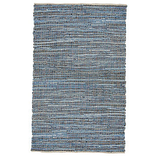 AB HOME Small Stripe 5' x 8' Cotton/Denim Rug, Multi, large