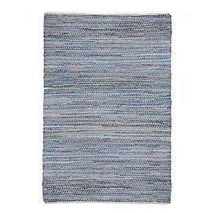 AB HOME Small Zigzag 5' x 8' Cotton/Jute/Denim Rug, Multi, large