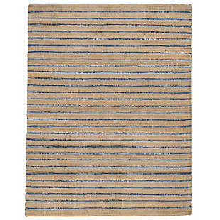 AB HOME Large Stripe 8' x 10' Cotton/Denim Rug, Multi, large