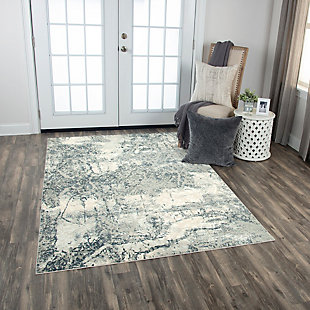 """Rizzy Home Glamour 5'3"""" x 7'6"""" Power-Loomed Area, Neutral, rollover"""
