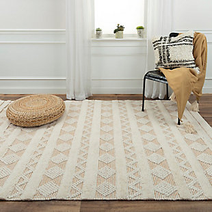 """Rizzy Home Kerala 5' x 7'6"""" Hand Woven Area Rug, Beige, rollover"""
